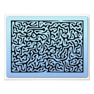 Blue Swirls Maze Personalized Announcement