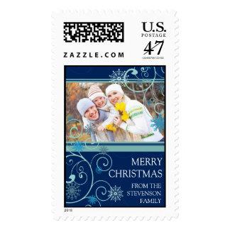 Blue Swirls Merry Christmas Custom Name Photo Postage