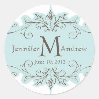 Blue Swirls Monogram Wedding Favour Stickers