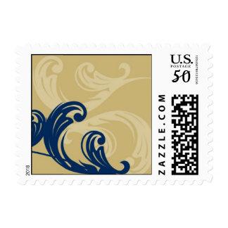 Blue Swirls on Gold Background Postage