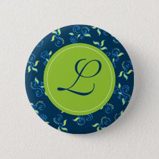 """Blue swirls pattern with """"L"""" monogram Button"""