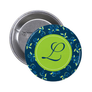 "Blue swirls pattern with ""L"" monogram Button"