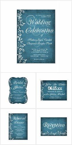 Blue Swirls Rustic Wedding Invitation Set