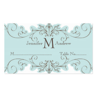Blue Swirls Table Escort Card Wedding Place Cards Business Cards