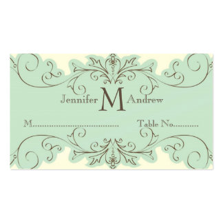 Blue Swirls Table Escort Cards Wedding Cream Business Card Template