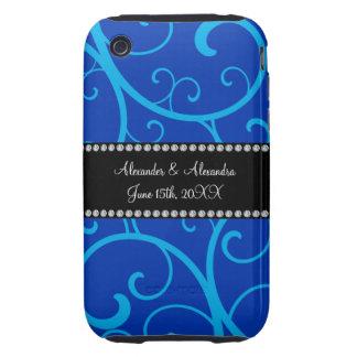 Blue swirls wedding favors tough iPhone 3 covers