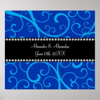 Blue swirls wedding favors poster