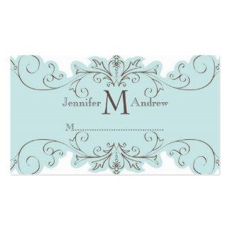 Blue Swirls Wedding Reception Place Cards Business Card Templates