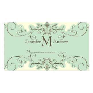 Blue Swirls Wedding Reception Place Cards Cream Business Card Templates