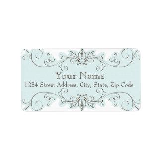 Blue Swirls Wedding RSVP Return Address Labels