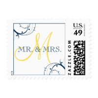 Blue Swirls Yellow Monogram Mr. and Mrs. Postage
