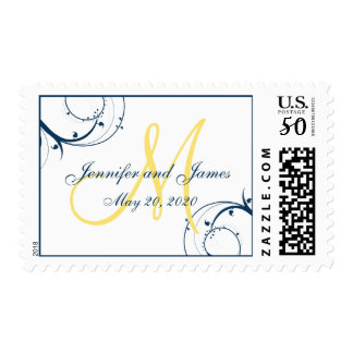 Blue Swirls Yellow Monogram Save the Date Postage