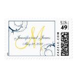 Blue Swirls Yellow Monogram Save the Date Stamp