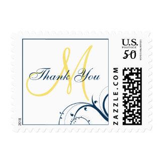 Blue Swirls Yellow Monogram Wedding Thank You Postage