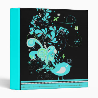 blue swirly bird vector 3 ring binder