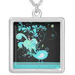 blue swirly bird vector jewelry