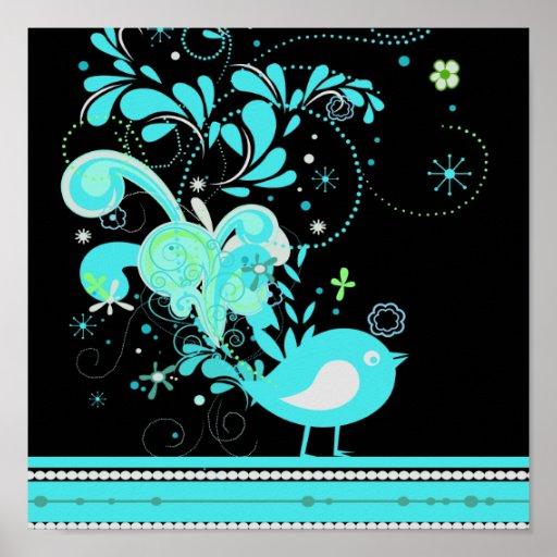 blue swirly bird vector posters