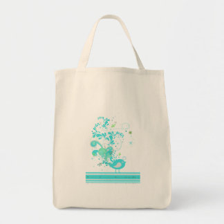 blue swirly bird vector tote bag