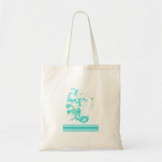 blue swirly bird vector tote bags