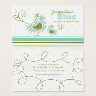 Blue Swirly Damask Birds Whimsical Business Card