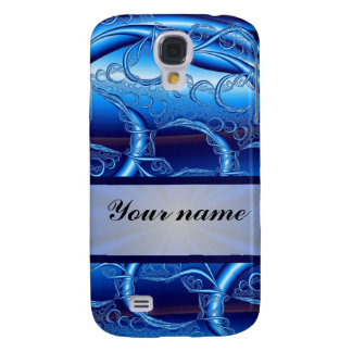 Blue swirly fractal abstract samsung s4 case