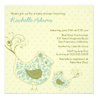 Blue Swirly Mom & Baby Bird Baby Shower Invitation Invitation