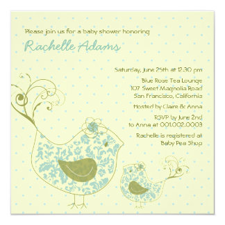 Blue Swirly Mom & Baby Bird Baby Shower Invitation