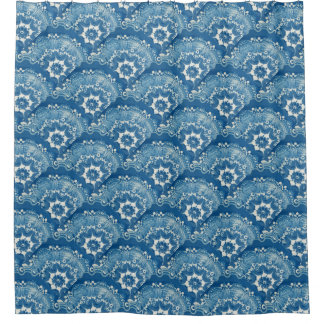 Blue Swirly Tiles Customize 2 Change White 2 Color Shower Curtain