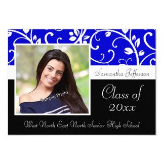 Blue Swirly Vine Photo Graduation Announcement