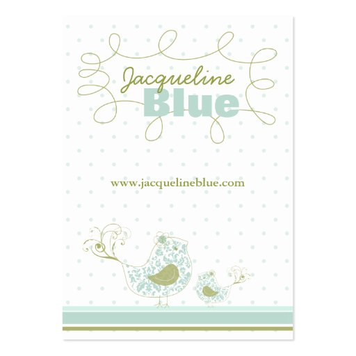Blue Swirly Whimsical Birds Custom Business Card