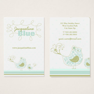 Blue Swirly Whimsical Birds Custom Business Card