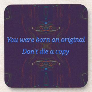 "Blue Symmetrical Abstract "" Born Original"" quote Coaster"