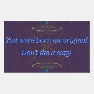 "Blue Symmetrical Abstract "" Born Original"" quote Rectangular Sticker"