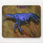Blue T-Rex Dinosaur & Leather-effect Mousepad