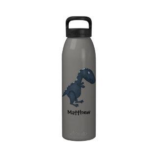 Blue T-Rex Dinosaur Personalized Kids Water Bottles