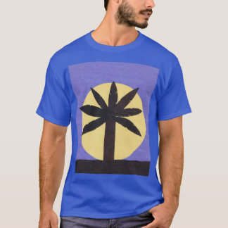 Blue T-shirt with Palm Tree and Full Moon