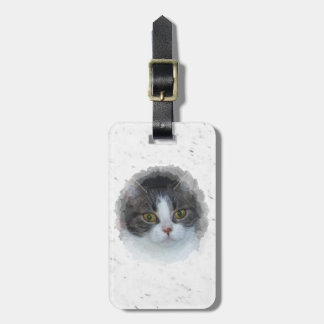 blue tabby and white luggage tag
