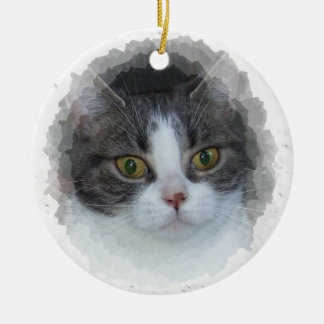 blue tabby and white Double-Sided ceramic round christmas ornament