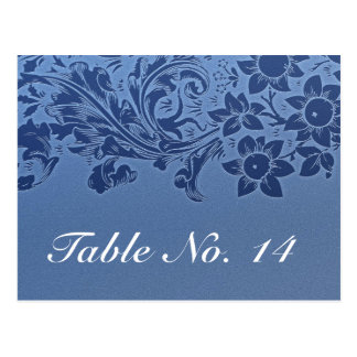 blue table number card postcard pattern