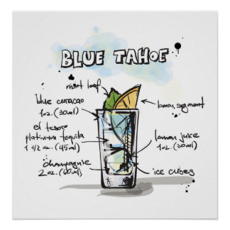 Blue Tahoe Drink Recipe Design Print