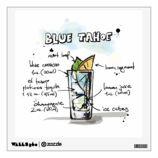 Blue Tahoe Drink Recipe Design Wall Decal