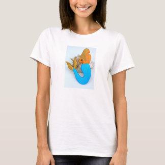 blue tail gold hair mermaid T-Shirt