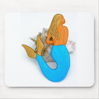 blue-tail golden-haired mermaid mouse pad