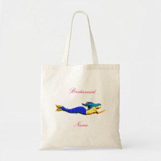 Blue-tail mermaid bridesmaid tote bag