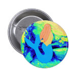 blue-tail mermaid design 2 inch round button