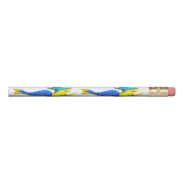 blue-tailed mermaids swimming underwater pencil