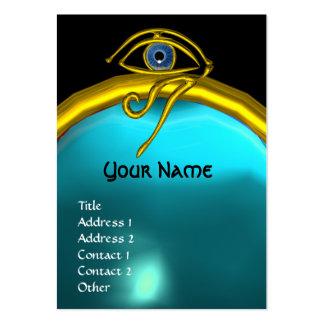 BLUE TALISMAN AQUAMARINE  MONOGRAM black yellow Large Business Card