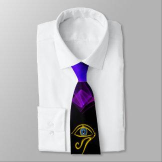 BLUE TALISMAN /EYE OF HORUS Black Purple Swirls Tie
