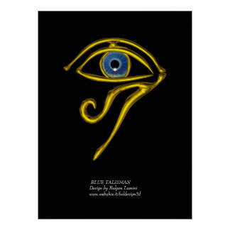 BLUE TALISMAN / GOLD HORUS EYE POSTER