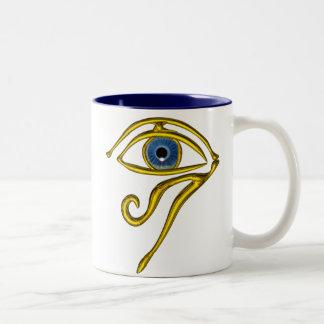 BLUE TALISMAN / GOLD HORUS EYE Two-Tone COFFEE MUG